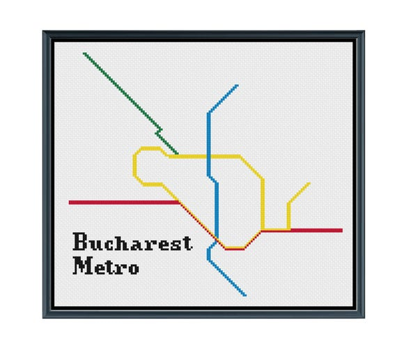 Bucharest Subway Map.Bucharest Metro Cross Stitch Pattern Romania Subway Map Pattern Metro Map Pattern Home Decor Pattern Pdf Instant Download