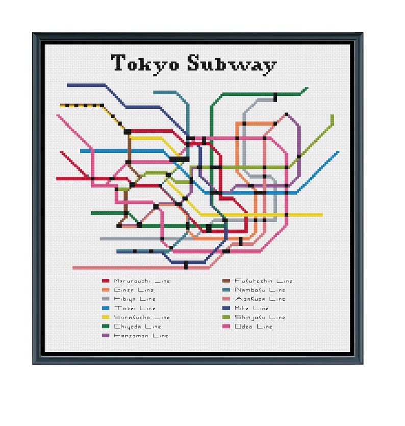 Nagoya Subway Map Pdf.Tokyo Subway Cross Stitch Pattern Japan Subway Map Pattern Metro Map Pattern Home Decor Pdf Instant Download