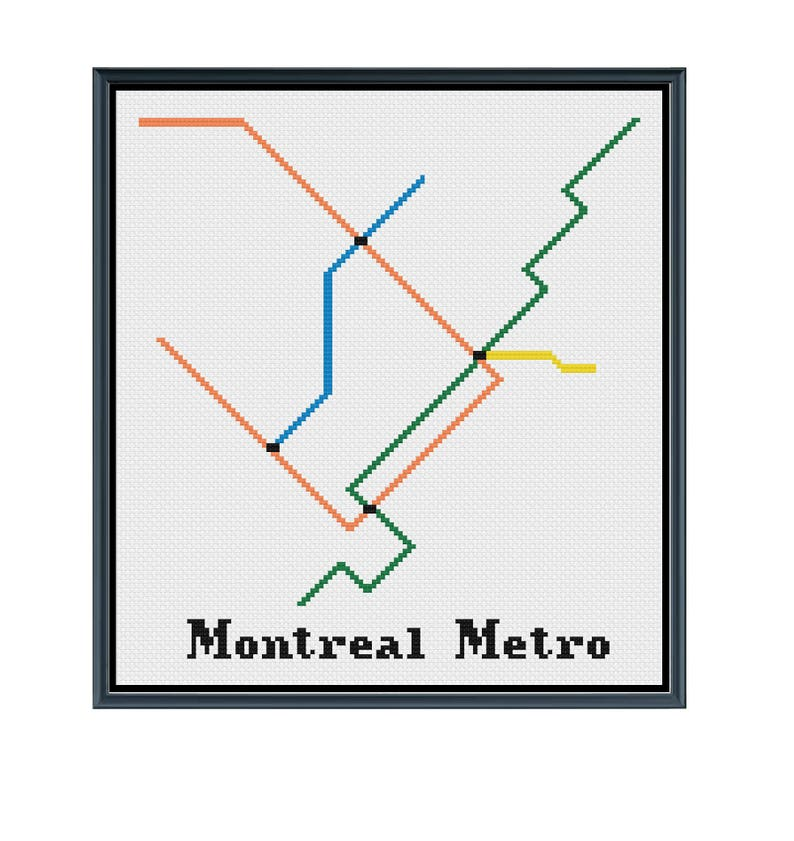 Montreal Subway Map Pdf.Montreal Metro Cross Stitch Pattern Subway Map Pattern Etsy
