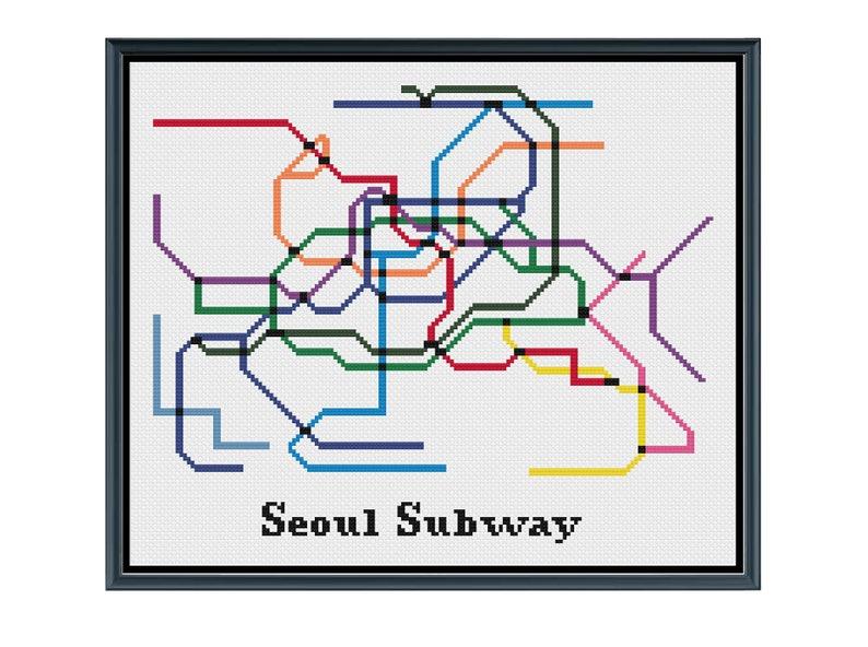 Seoul Metropolitan Subway Map Download.Seoul Subway Cross Stitch Pattern South Korea Subway Map Pattern Metro Map Pattern Home Decor Pdf Instant Download