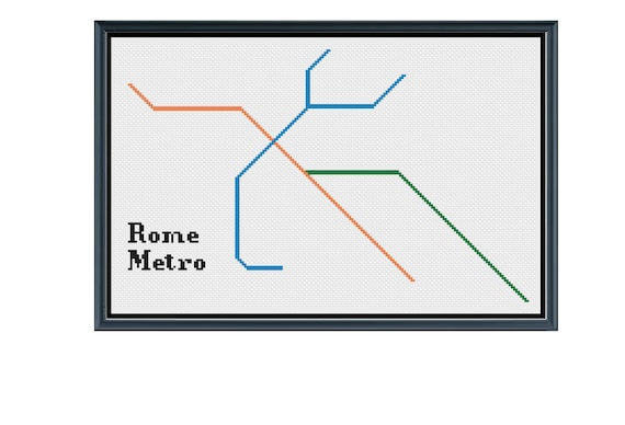 Italy Metro Map.Rome Metro Cross Stitch Pattern Italy Subway Map Pattern Etsy