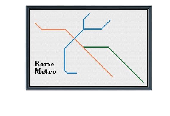 Rome Italy Subway Map.Rome Metro Cross Stitch Pattern Italy Subway Map Pattern Etsy