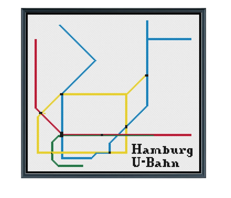 Hamburg Subway Map.Hamburg U Bahn Cross Stitch Pattern Germany Subway Map Pattern Metro Map Pattern Home Decor Pdf Instant Download
