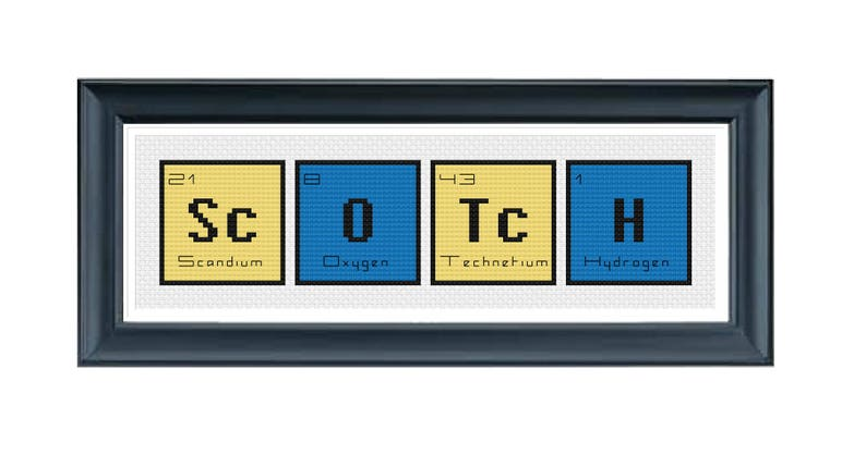 CROSS STITCH PDF Periodic Table Words Scotch Cross Stitch Modern Cross Stitch Pattern Science Geek Cross Stitch Instant Download