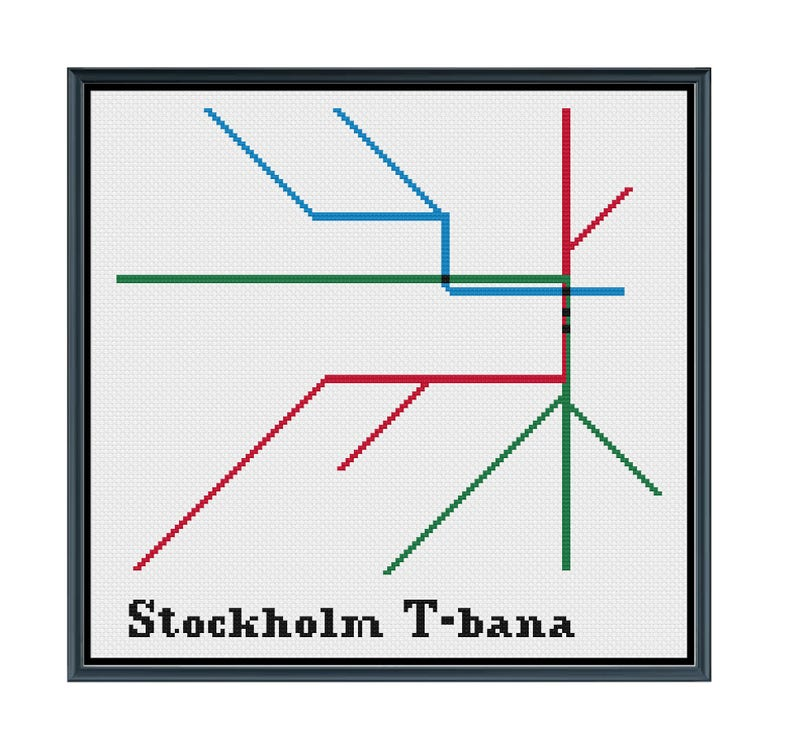 Sweden Subway Map.Stockholm T Bana Cross Stitch Pattern Sweden Subway Map Pattern Metro Map Pattern Home Decor Pattern Pdf Instant Download