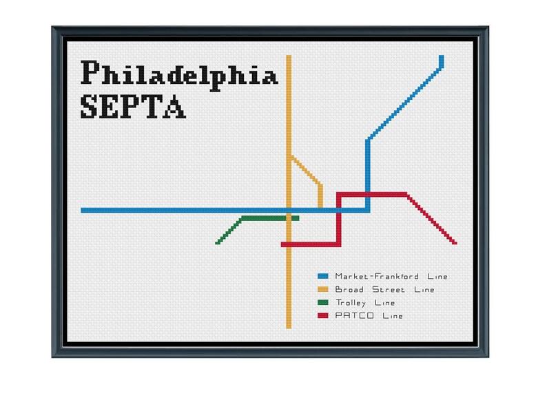 Philadelphia Subway Map Patco.Philadelphia Septa Subway Cross Stitch Pattern Subway Map Pattern Metro Map Pattern Home Decor Pattern Pdf Instant Download