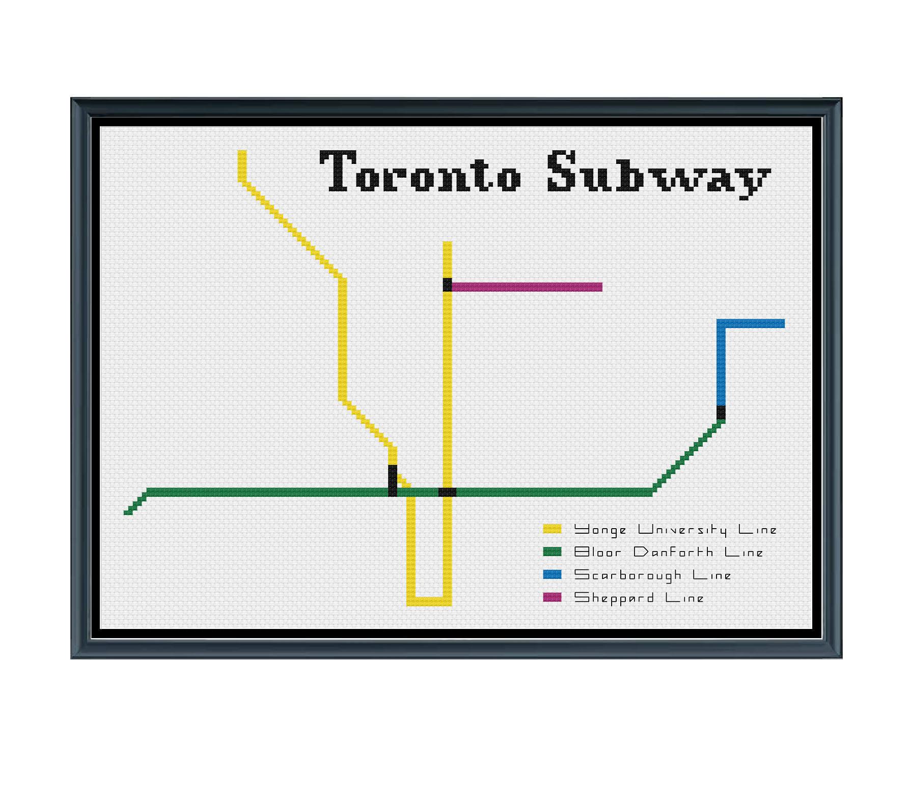 Toronto Subway Map Pdf.Toronto Subway Cross Stitch Pattern Subway Map Pattern Metro Map Pattern Home Decor Pattern Pdf Instant Download