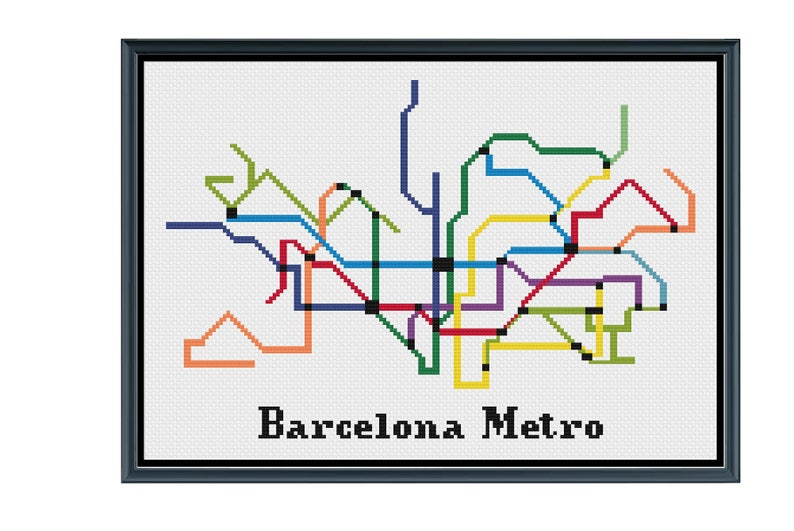 Subway Map Of Barcelona Spain.Barcelona Metro Cross Stitch Pattern Spain Subway Map Pattern Metro Map Pattern Home Decor Pdf Instant Download