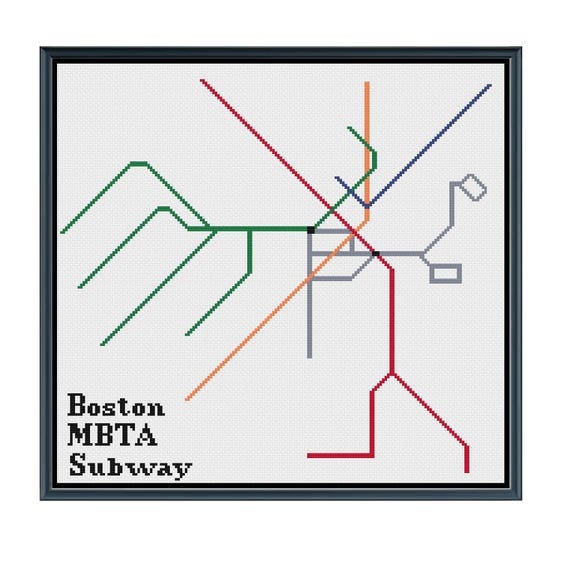Boston Mbta Subway Cross Stitch Pattern Subway Map Pattern Etsy