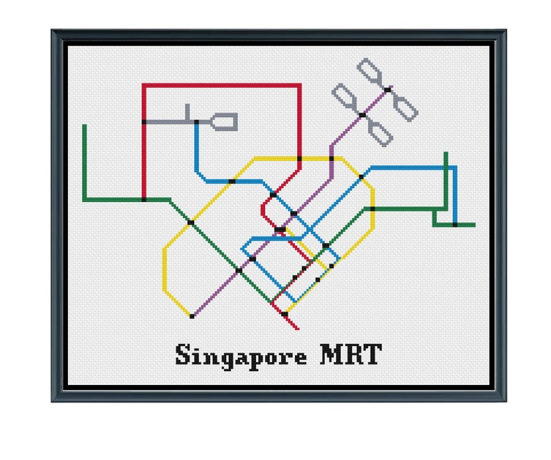 Mrt Subway Map.Singapore Mrt Cross Stitch Pattern Subway Map Pattern Metro Map Pattern Home Decor Pdf Instant Download