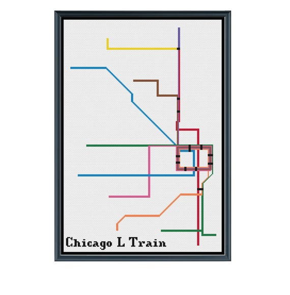 Chicago L Train Subway Cross Stitch Pattern Subway Map Etsy