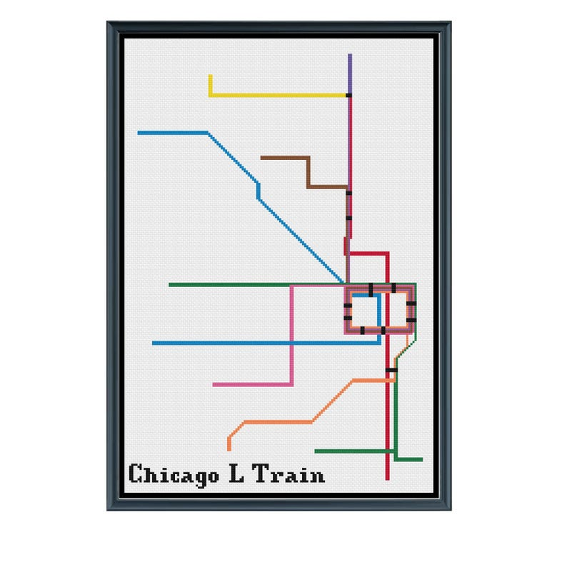 Subway Map Pdf Chicago.Chicago L Train Subway Cross Stitch Pattern Subway Map Pattern Metro Map Pattern Home Decor Pdf Instant Download