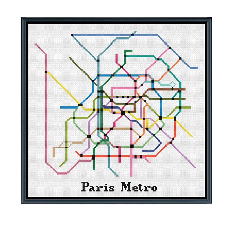 Paris Metro Map Download.Paris Metro Cross Stitch Pattern France Subway Map Pattern Etsy