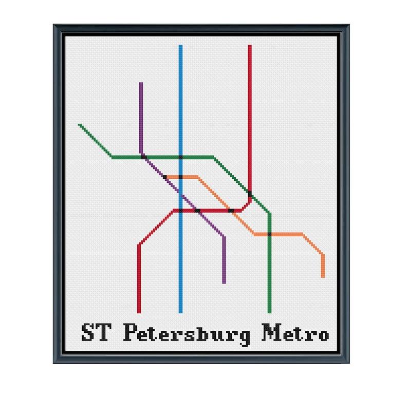 Saint Petersburg Russia Subway Map.St Petersburg Metro Cross Stitch Pattern Russia Subway Map Pattern Metro Map Pattern Home Decor Pattern Pdf Instant Download
