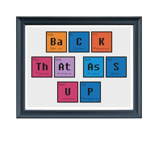 Cross Stitch Pdf Periodic Table Back That Ass Up Cross Etsy