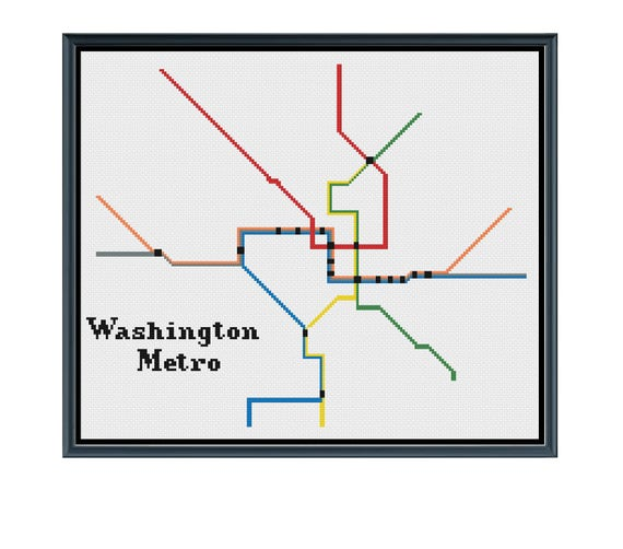 Washington Dc Metro Cross Stitch Pattern Subway Map Pattern Etsy