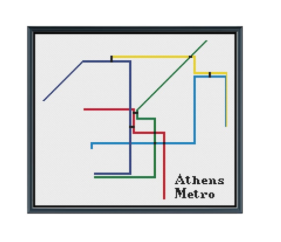 Subway Map Athens Greece.Athens Metro Cross Stitch Pattern Greece Subway Map Pattern Metro Map Pattern Home Decor Pattern Pdf Instant Download