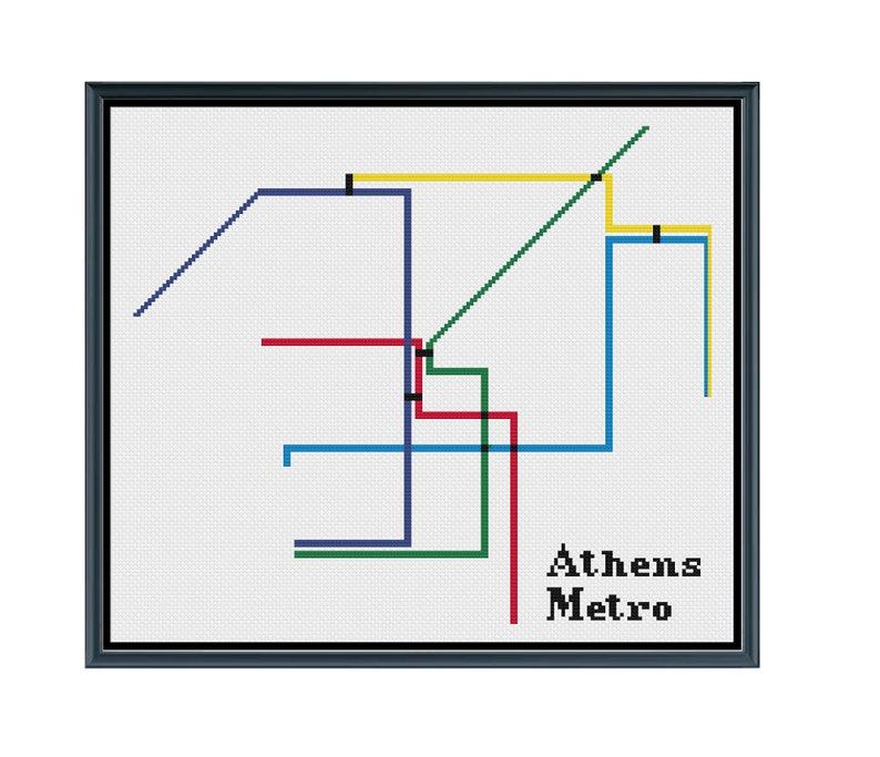 Subway Map Athens.Athens Metro Cross Stitch Pattern Greece Subway Map Pattern Metro Map Pattern Home Decor Pattern Pdf Instant Download