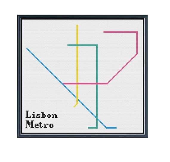 Lisbon Metro Cross Stitch Pattern Portugal Subway Map Etsy