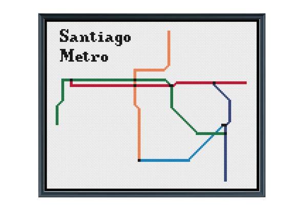 Santiago Metro Cross Stitch Pattern Chile Subway Map Pattern Etsy