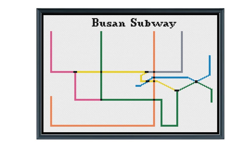 Subway Map Of Busan.Busan Subway Cross Stitch Pattern Korea Subway Map Pattern Metro Map Pattern Home Decor Pattern Pdf Instant Download