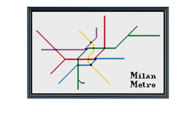 Milan Subway Map.Milan Metro Cross Stitch Pattern Italy Subway Map Pattern Metro Map Pattern Home Decor Pattern Pdf Instant Download