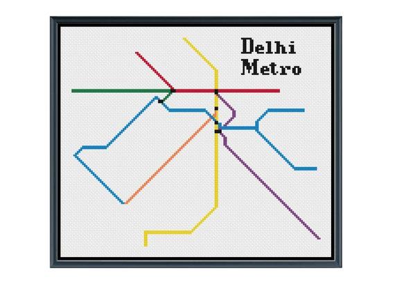 Delhi Metro Cross Stitch Pattern - India Subway Map Pattern - Metro Map  Pattern - Home Decor - PDF Instant Download