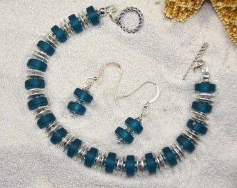Ocean Blue Sea Glass and Silver Bracelet and Earrings