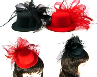 Mesh Veil Feather Fascinator Hair Clip Pillbox Mini Top Hat Cocktail Party Race Accessory Red Black Vintage Look Women Lady Girl Fashion New
