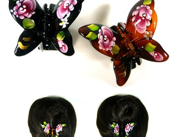 Hand Painted Flower Plastic Butterfly Hair Claw Jaw Clip Clamp Pin Accessory Oriental Retro Vintage Antique Fashion Women Lady Girl Gift New