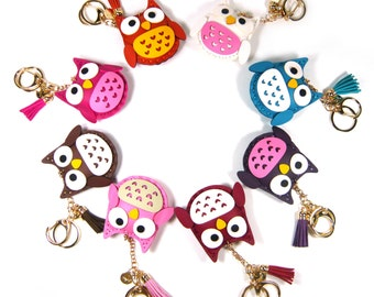 Faux Leather Owl Tassel Fringe Car Key Ring Chain Holder Hand Bag Charm Accessory Cute Vivid Color Fashion Girl Lady Women Lovely Gift New
