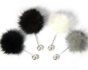 433f5f1c09f White Brown Gray Black Real Mink Fur PomPom Ball Silver Metal Stick Brooch  Faux Pearl Cap Women Men Unisex Elegant Fashion Lapel Pin Gift