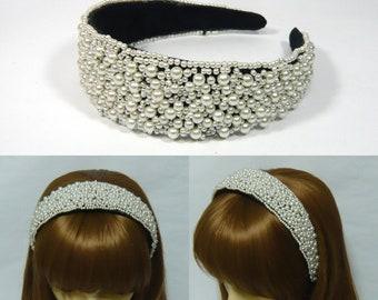 Bianca perle finte perline larghe in plastica archetto Hairband copricapo  donne ragazza signora elegante moda matrimonio cerimonia nuziale capelli  partito ... e03701057c41