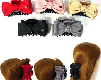 Big Large Satin Fabric Ribbon Double Bow Knot Acrylic Plastic Hair Claw Jaw Clip Clamp Pin Accessory Women Lady Girl Feminine Fashion Gift
