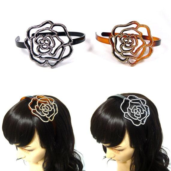 Beige Strass Haarreifen mit Dekor schwarz Kunststoff Kopfband Für Frau