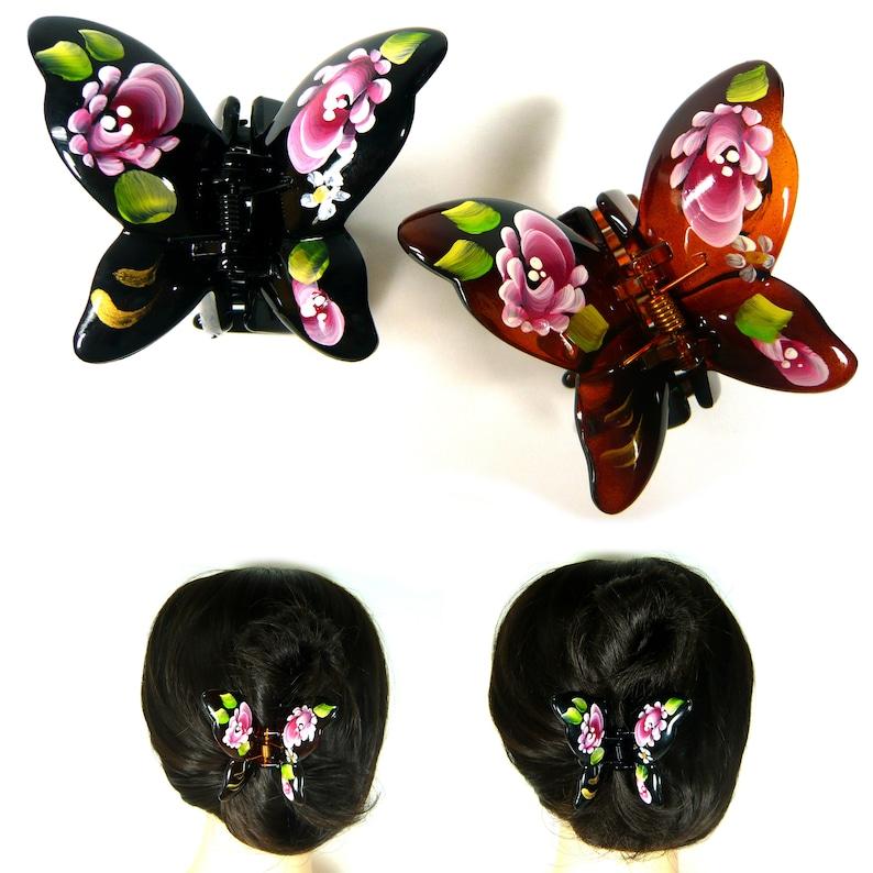Hair Claw Clip Butterfly Bulldog Clamp Plastic Bulldog Jaw Women Black Brown