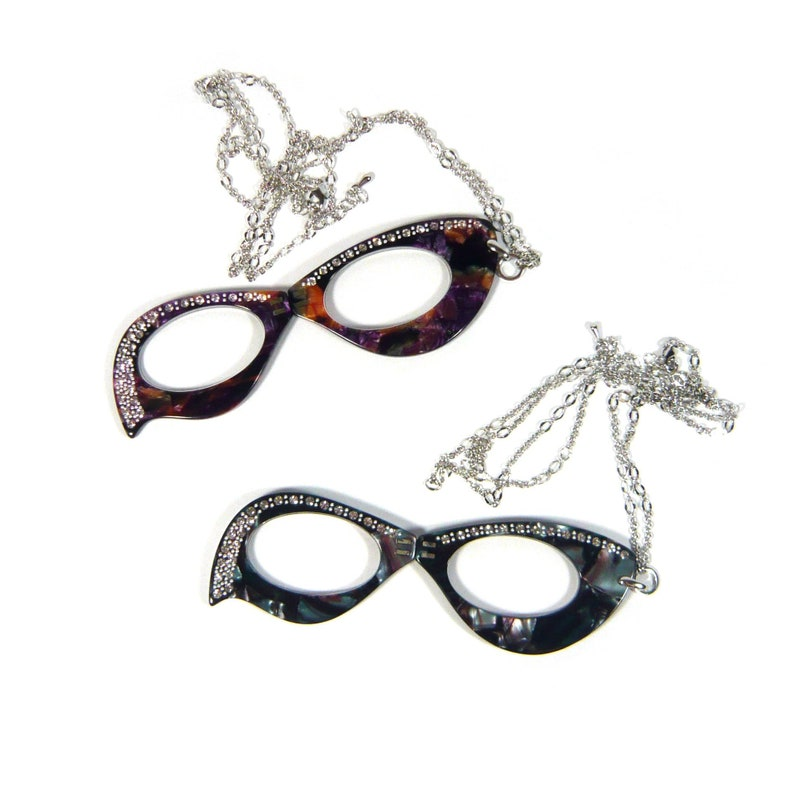 Silver Crystal Rhinestone Decor Cellulose Acetate Opera Loupe Long Metal Necklace Folding Reading Magnifying Glasses Brown Faux Leather Case