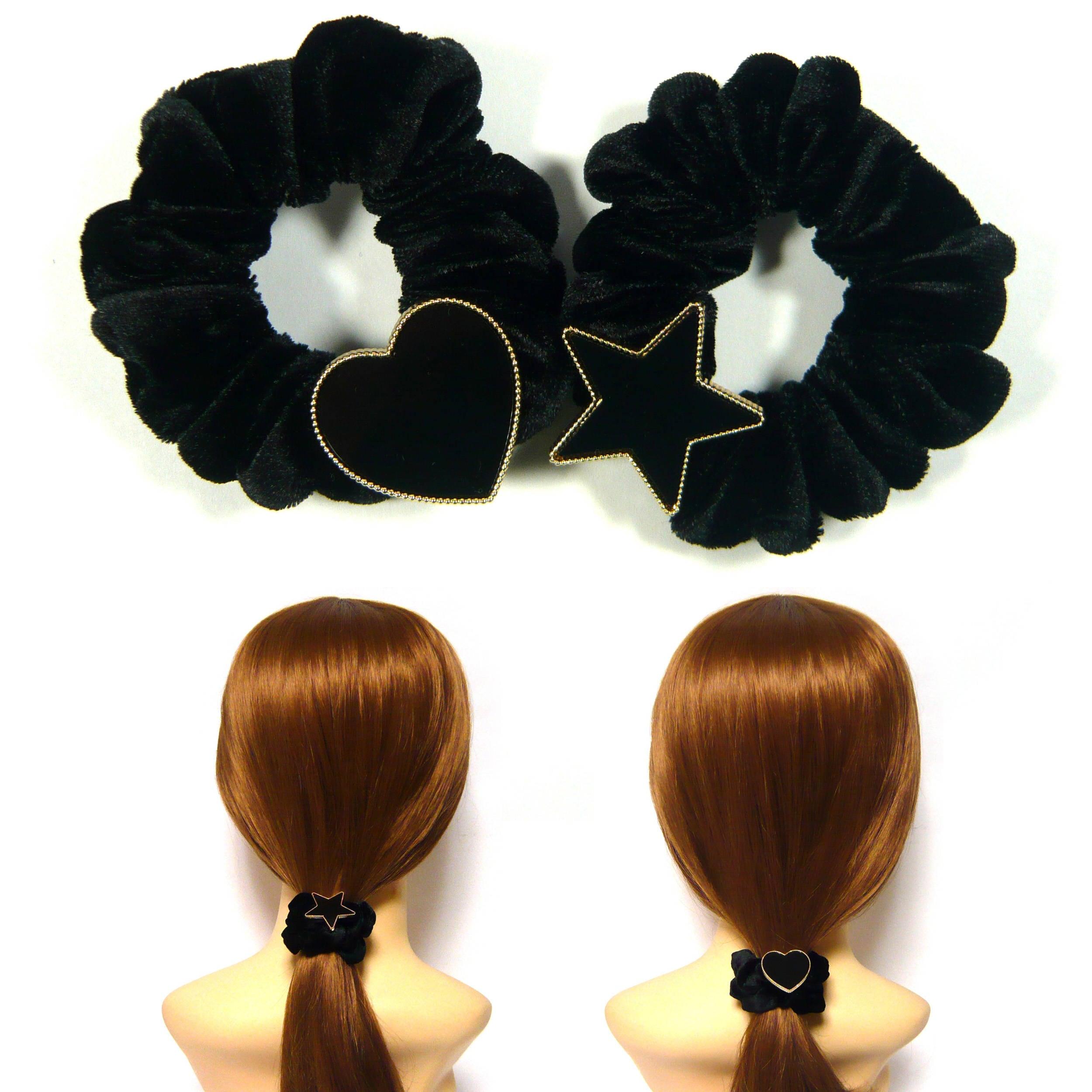 Black Acrylic Plastic Star Heart Soft Velvet Scrunchie  5c425bf5e70