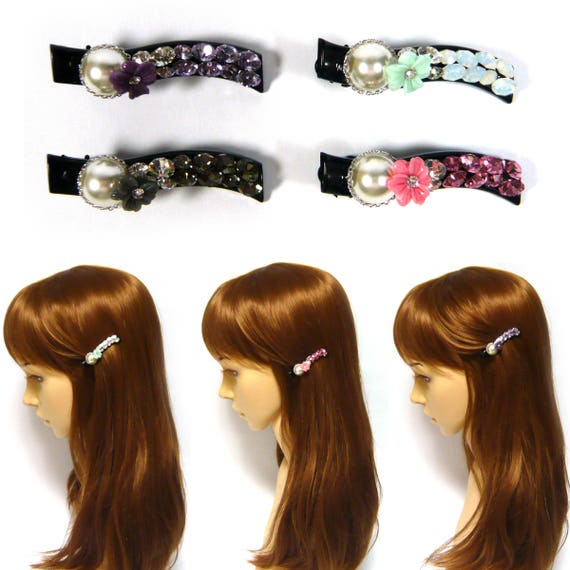 Crystal Rhinestone Bow Knot Long Brown Black Plastic Barrette Hair Jewelry Clip Clamp Pin Women Lady Girl Lovely Bling Fashion Accessory New