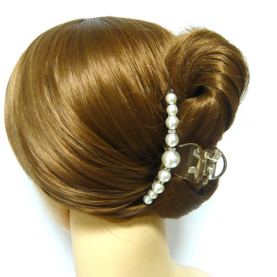 l White Pearl Glitter Hair Claw Jaw Hair Claw Gold Tone  Plastic Inner