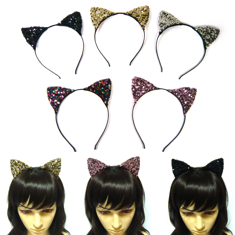 DK FASHION Women Rhinestone Party Cat Ears Crystal Jewelry HeadBand