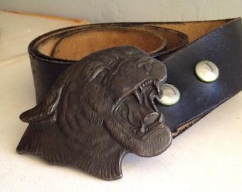 Vintage Solid Brass Roaring Panther Belt Buckle