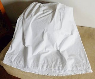 Antique Linen Petticoat, Pure French Linen, Hand Made, AutumnWinter Weight, Triple Hem, Lovely Embroidery, Drawstring Top, Circa 1870
