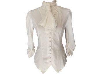 Ivory White Gothic Victorian Steampunk Pirate Blouse Shirt