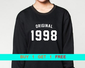 45d433f54 21st Birthday sweatshirt birthday sweater original 1998 birthday gift 90's  pullover unisex crewneck sweatshirts grey black S M L XL