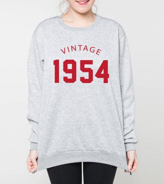 65e sweatshirt anniversaire, pull d'anniversaire, vintage 1954, d'anniversaire, cadeau d'anniversaire, 1954, chemise 50 ' s, pull unisexe, pulls ras du cou, gris, noir c03afd