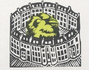 Bath Circus card, block printed card featuring Bath's beautiful Circus