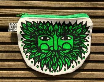 Green Man Printed Purse, screen printed green man nature spirit