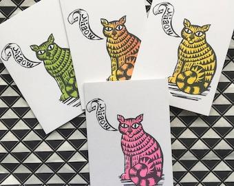 Grumpy cat card, block printed cat  handprinted on recycled card