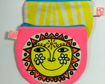 Printed Sun Purse, neon pink bright summer sunshine!